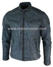 Mens Blue Grey Real Leather Designer Zipped Biker Washed Casual Vintage Jacket