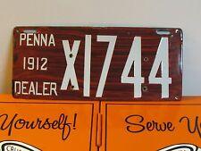 1912 Pennsylvania License Plate Porcelain Dealer Tag PA Penna