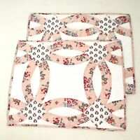 Vera Bradley Lot Of 2 Pillow Shams Zip Cases Floral Pink White Quilted Cotton