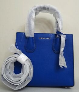 Michael Kors Women Mercer Medium Electric Blue Pebbled Leather Messenger Bag