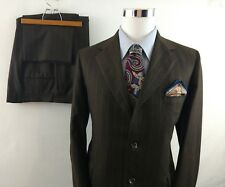 VTG MENS 2 Pc Three Btn Suit Brown Pinstripe Pomeroys 42 R Flat Front Pant 37x28
