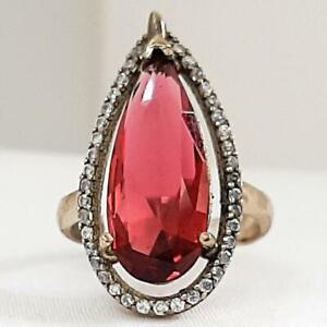 Deco 9.70ctw Ruby & Diamond Cut White Sapphire 14K Yellow Gold Silver Ring