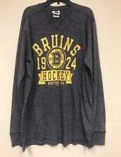 90b63572b NHL Boston Bruins Hockey Athletic Crew Tee Shirt Men XL Long Sleeves Gray -
