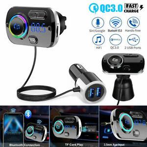 Wireless Bluetooth 5.0 Car FM Transmitter Radio Kit MP3 Player AUX Handsfree USB