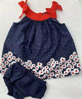 Gap Baby Girls 3-6 Months Red White & Blue Daisy Flower Dress