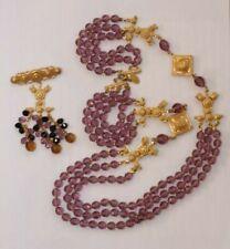 Vintage DvF Diane von Furstenberg Necklace Imitation Pearls Black Tubes and Clear Color Crystals Elegant Fabulous High End Designer