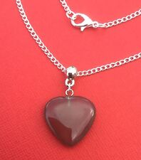 NEW! Grey Agate Gemstone Heart Pendant Necklace - Protection - Aussie Seller!