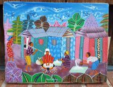 Oil Painting / Canvas-Village Scene-Hut Bird Leaf Work Community Neighbors Vtg