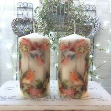 Pair of Shabby Chic Vintage Style Robin Decorative Christmas Candles (386)