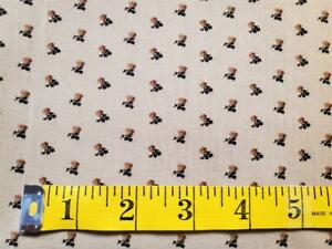 "3 Yds 16"" Vintage Civil War Repro Tiny Floral Leaf  Print Cotton Beige/Brown"