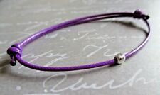 Purple Waxed Cotton Cord Friendship Surfer Bracelet with Sterling Silver Cube