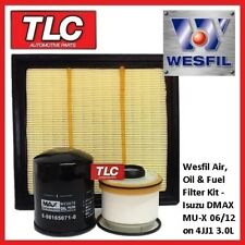 Wesfil Air Oil Fuel Filter Kit Isuzu DMax D-Max D Max MUX MU-X 3.0TD 4JJ1 06/12-