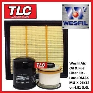 Wesfil Air Oil Fuel Filter Kit Isuzu DMax D-Max D Max MUX MU-X 3.0TD 4JJ1 06/12-