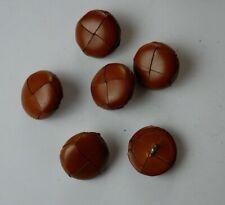 6 Bottoni Loden di Pelle Cuoio Colore Nocciola Diametro 2 cm.