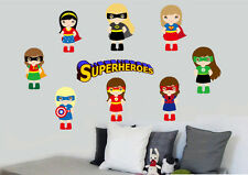 Girl superhéroe 9 paquete de pegatinas de pared Super Héroe Superhéroes Comic Batman Vengadores