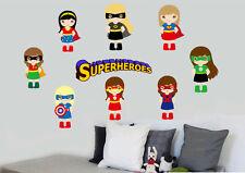 Girl Superhero 9 Pack Wall Stickers Super Hero Superheroes Comic Batman Avengers