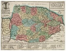 Map of Norfolk Wenceslas Hollar Old Vintage, Reprint 10x8 Inch