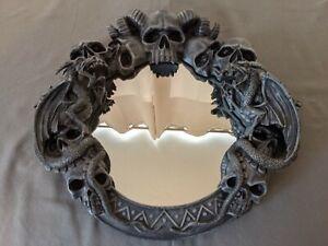 Wall Hanging Gothic Mirror Skulls Horns Dragons Evil Halloween Scary Blue Black