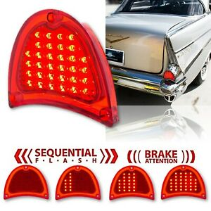 57 1957 Chevy Bel Air 210 150 Red LED Sequential Tail Brake Light Lamp Lens Each