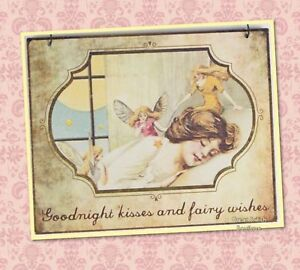 """Sweet Fairy Shabby Chic Small Metal Sign - """"Goodnight Kisses And Fairy Wishes"""""""