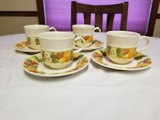 Vernon Ware by Metlox Della Robbia cup and saucer set of 4. Excellent condition