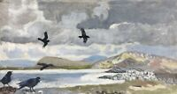 Karl Adser 1912-1995 Coastal Landscape With Crow At Sea Oil Painting 40 x 74