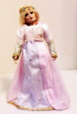 """REPUNZEL 10"""" ALL PORCELAIN DOLL, UNMARKED, WITH MUSICAL STORAGE TRUNK+3 OUTFITS"""