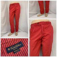 Brooks Brothers Pants 34x32 Red Flat Front 100% Cotton Straight EUC YGI Q9-281