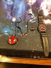 Deadpool Logo Cover Pocket Watch with Chain Bundle Licensed
