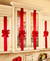 Set of 4 Red Kitchen Cabinet Polyester Christmas Bows Decorations