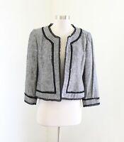Kasper Gray Black Linen Blend Open Front Ruffle Trim Blazer Jacket Size 4