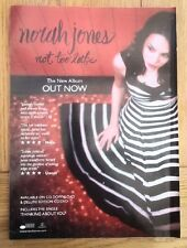 NORAH JONES Not Too Late 2007 UK magazine ADVERT/Poster/clipping 11x8 inches