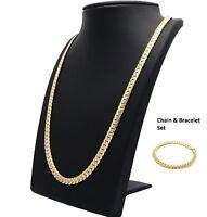 Mens Miami Cuban link Chain & Bracelet Set 6mm 14k Gold Plated Necklace