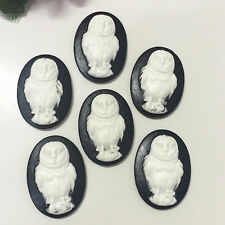 6pcs retro owl convex oval Resin flatback scrapbook for phone/craft ·#