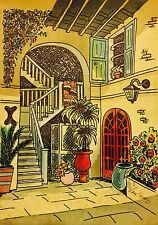 Colorful Vintage 1960's Bohemian New Orleans Watercolor Gypsy Lou Webb Loujon