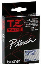 Original Brother TZ-133 8 m Tape 12 mm Band  P-Touch,blau - transparent  NEU OVP