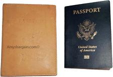 New USA Leather passport case wallet credit ATM card case Tan passport ID holder