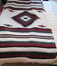 "Southwest Style Woven Rug Textile Tribal Diamond Design Fringe 74""X 45"" Vintage"