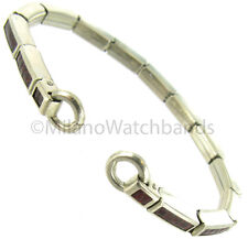 Speidel Silver Tone Stainless Steel Brown Lizard Grain Finish C Ring Watch Band