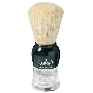 Shaving Brush Black Pig Bristles Pure Brushes Natural Bristles Omega Italy