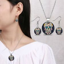 Black Sugar Skull Glass Dome Pendant Silver Necklace Woman Earrings Jewelry Sets