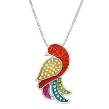 "Parrot Charm Pendant Fashionable Necklace - Sparkling Crystal - 17"" Chain"