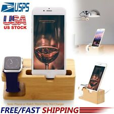 Bamboo Charging Dock Station Charger Holder For iPhone Android Phone Apple Watch