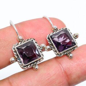 """Amethyst- Gemstone 925 Sterling Silver Bali Earring Jewelry 1.09"""" E1389-56"""