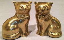 Vintage Pair of Mirror Image Solid Brass Cat Figurines, Rare