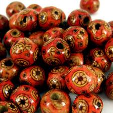 13x12 rot ethnisch Muster Holzern Perlen Schmuckherstellung Basteln X50 W406