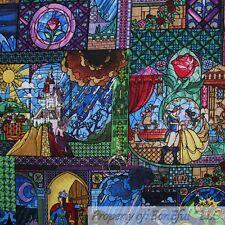 BonEful Fabric FQ Cotton Quilt Rain*Bow Princess Belle Beauty & The Beast Flower