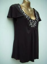 M&S Embellished Flutter Sleeve Jersey Top Size 12 Chocolate WORN ONCE