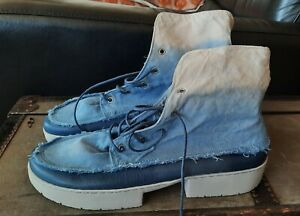 Trippen boots blue leather and canvas sz 41 excellent as new condition unisex