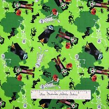 Halloween Fabric - Monsters Bat Skeleton Frankenstein Green - AE Nathan YARD